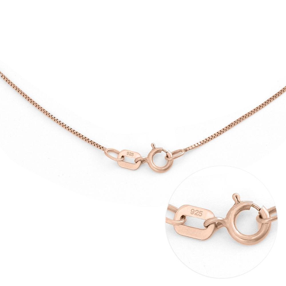 Gegraveerde Cirkel Hanger Linda ™ Ketting met blad en persoonlijke kralen in 18K Rosé Goud Verguld met diamanten - 6