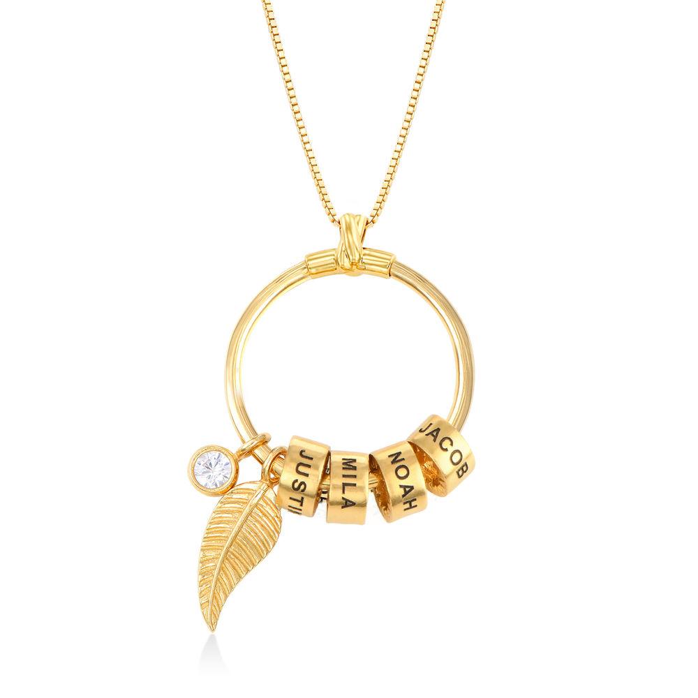 Gegraveerde Cirkel Hanger Ketting met blad en persoonlijke kralen™ in 18K Goud Vermeil - 1
