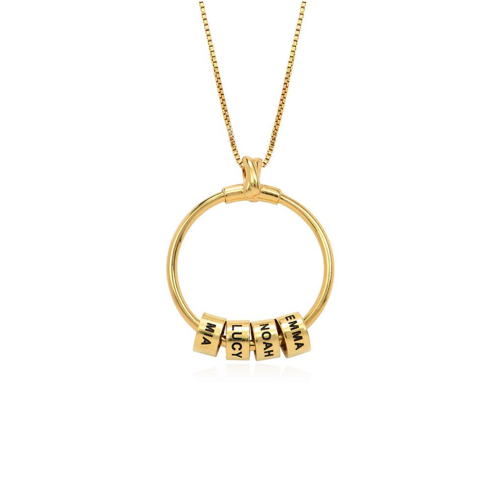 Gegraveerde Cirkel Hanger Ketting met blad en persoonlijke kralen™ in 18K Goud Vermeil - 2