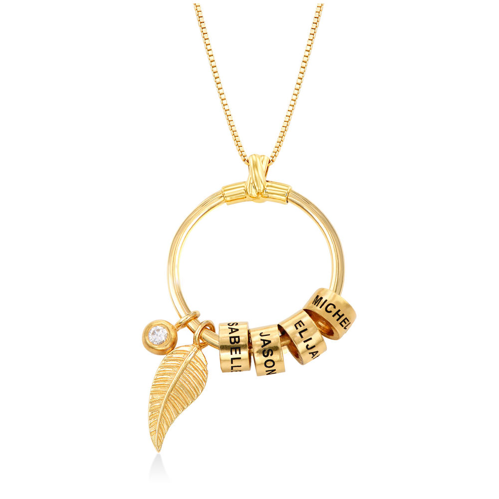 Gegraveerde Cirkel Hanger Linda ™ Ketting met blad en persoonlijke kralen in 18K Goud Vermeil met diamanten