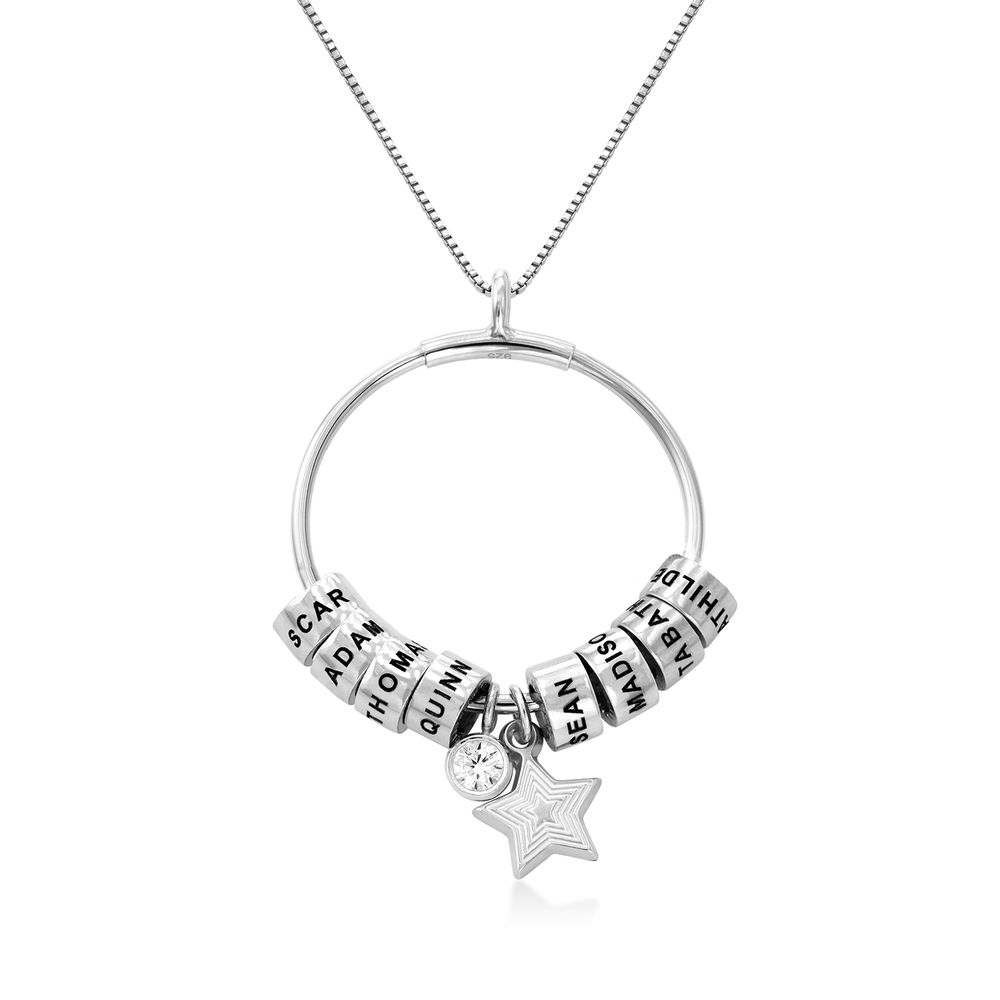 Grote Gegraveerde Cirkel Hanger Linda ™ Ketting met Gepersonaliseerde Kralen in Sterling Zilver