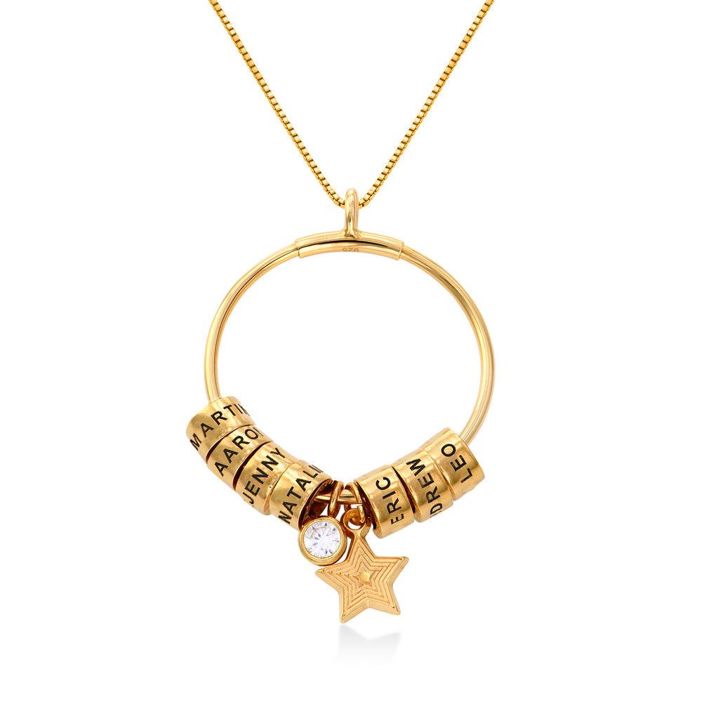 Grote Gegraveerde Cirkel Hanger Linda ™ Ketting met Gepersonaliseerde Kralen in 18K Goud Vermeil