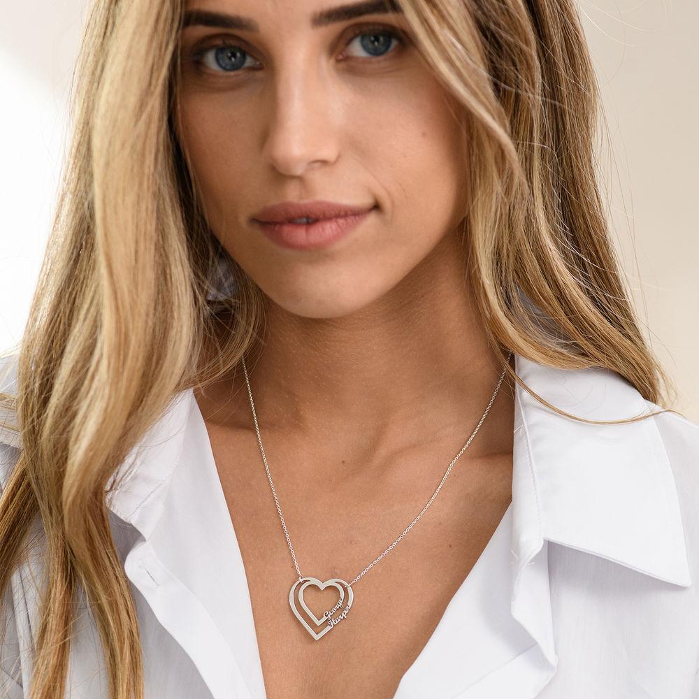 Gepersonaliseerde hart ketting met twee namen in sterling zilver - 1