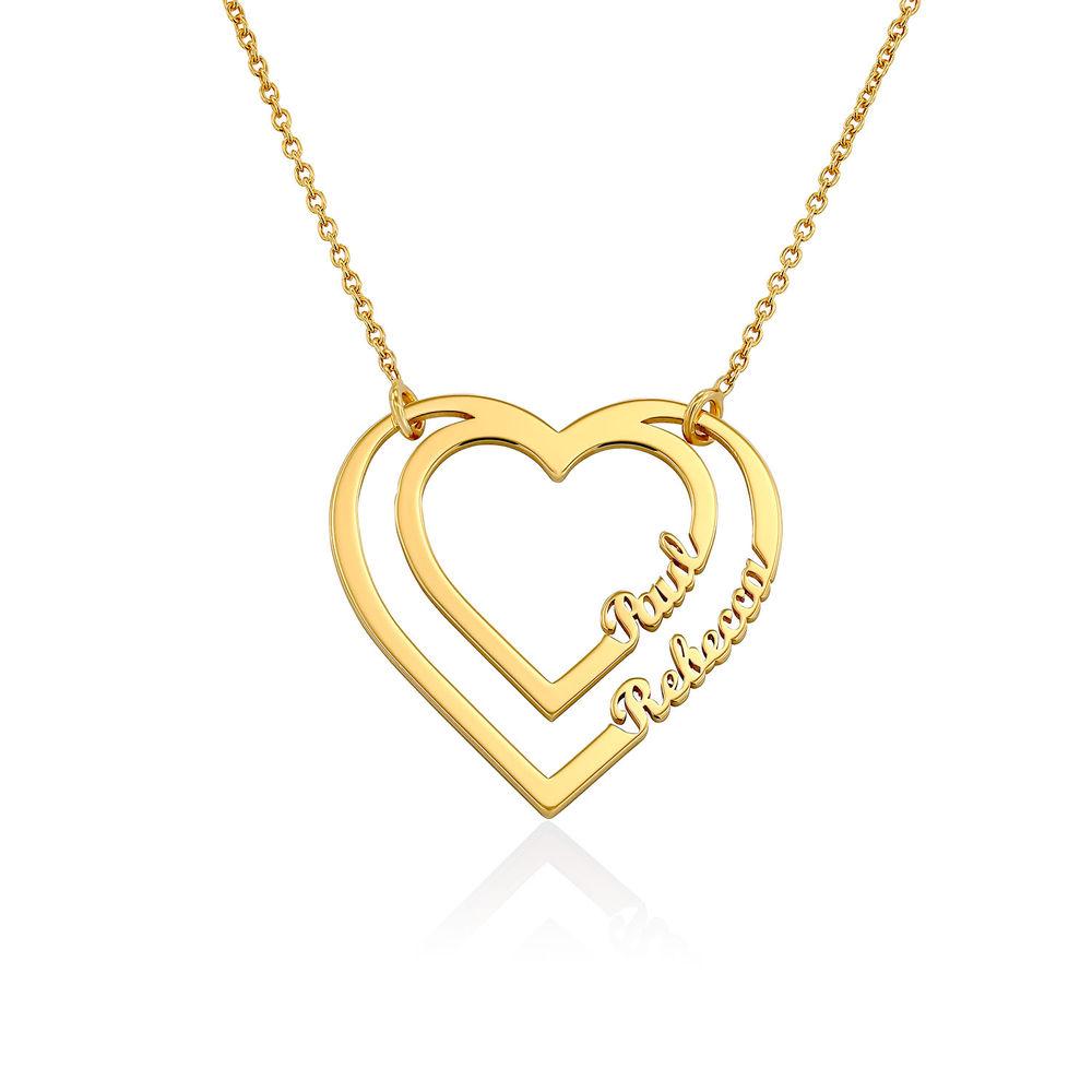 Gepersonaliseerde hart ketting met twee namen in Goud Verguld