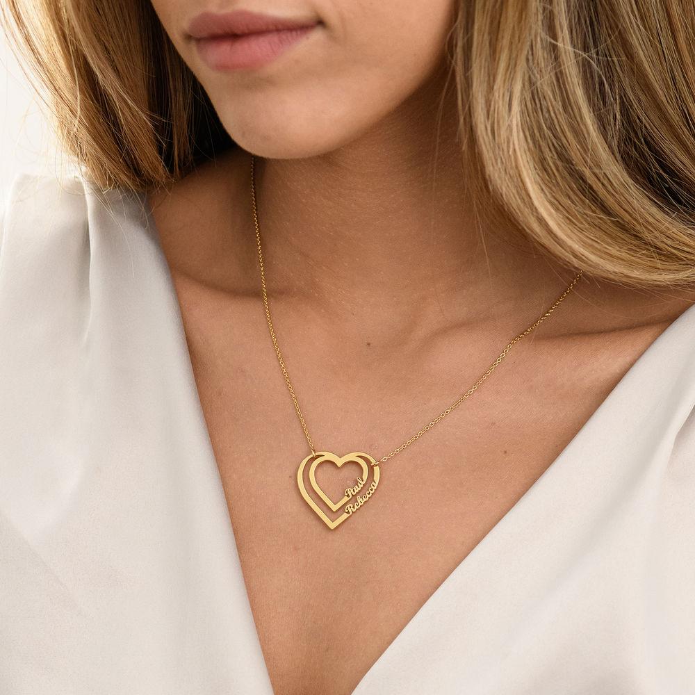 Gepersonaliseerde hart ketting met twee namen in Goud Verguld - 2