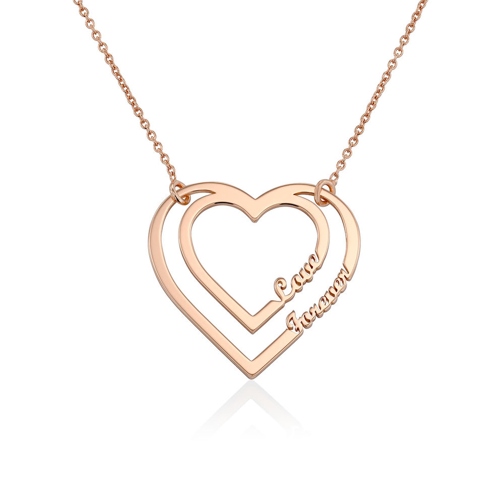 Gepersonaliseerde hart ketting met twee namen in Rosé-Vergulde