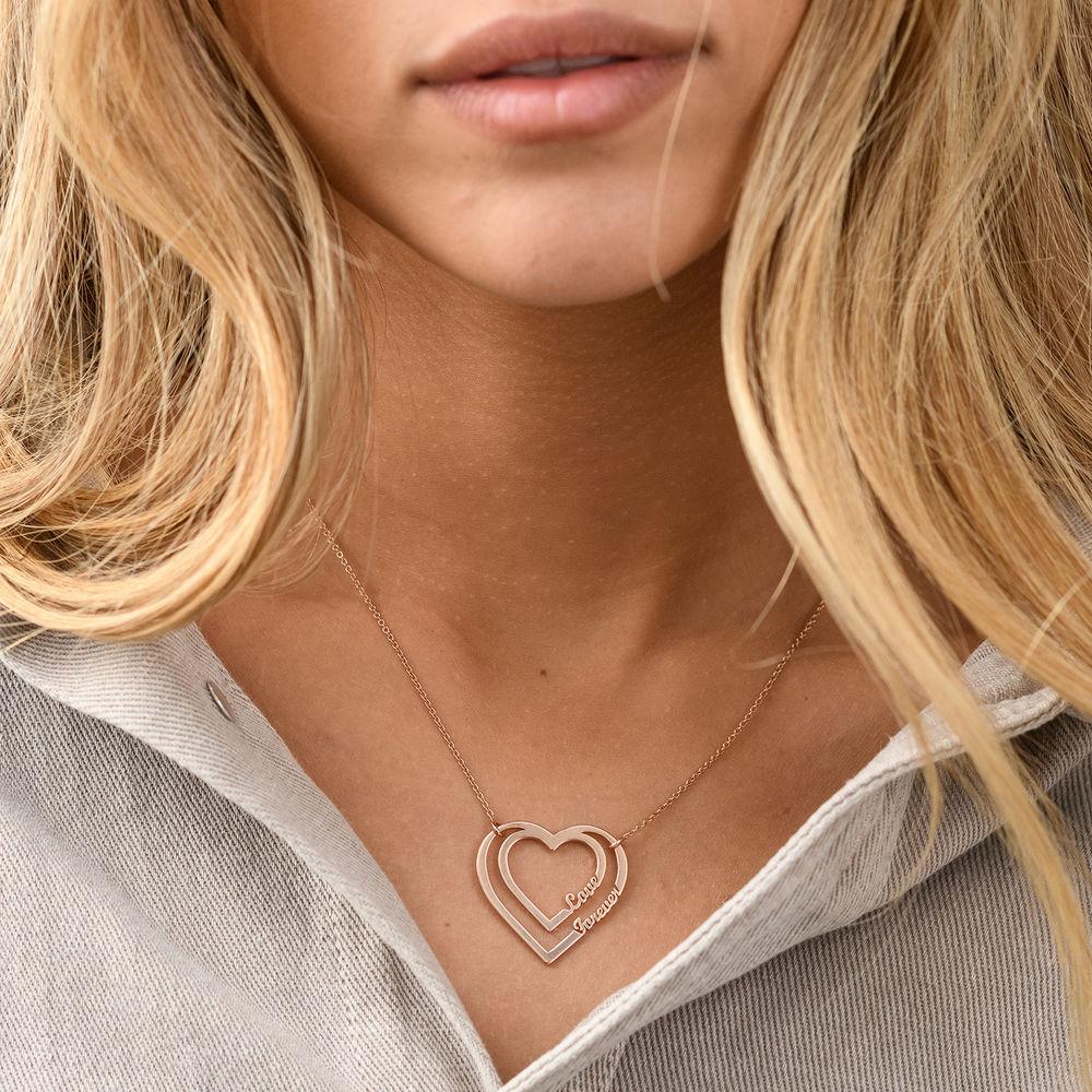Gepersonaliseerde hart ketting met twee namen in Rosé-Vergulde - 2