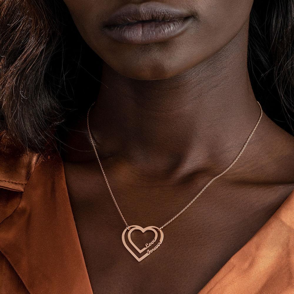 Gepersonaliseerde hart ketting met twee namen in Rosé-Vergulde - 4