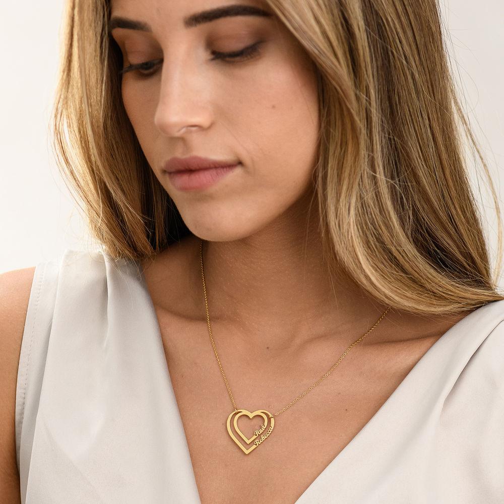 Gepersonaliseerde hart ketting met twee namen in Goud Verguld Vermeil - 1