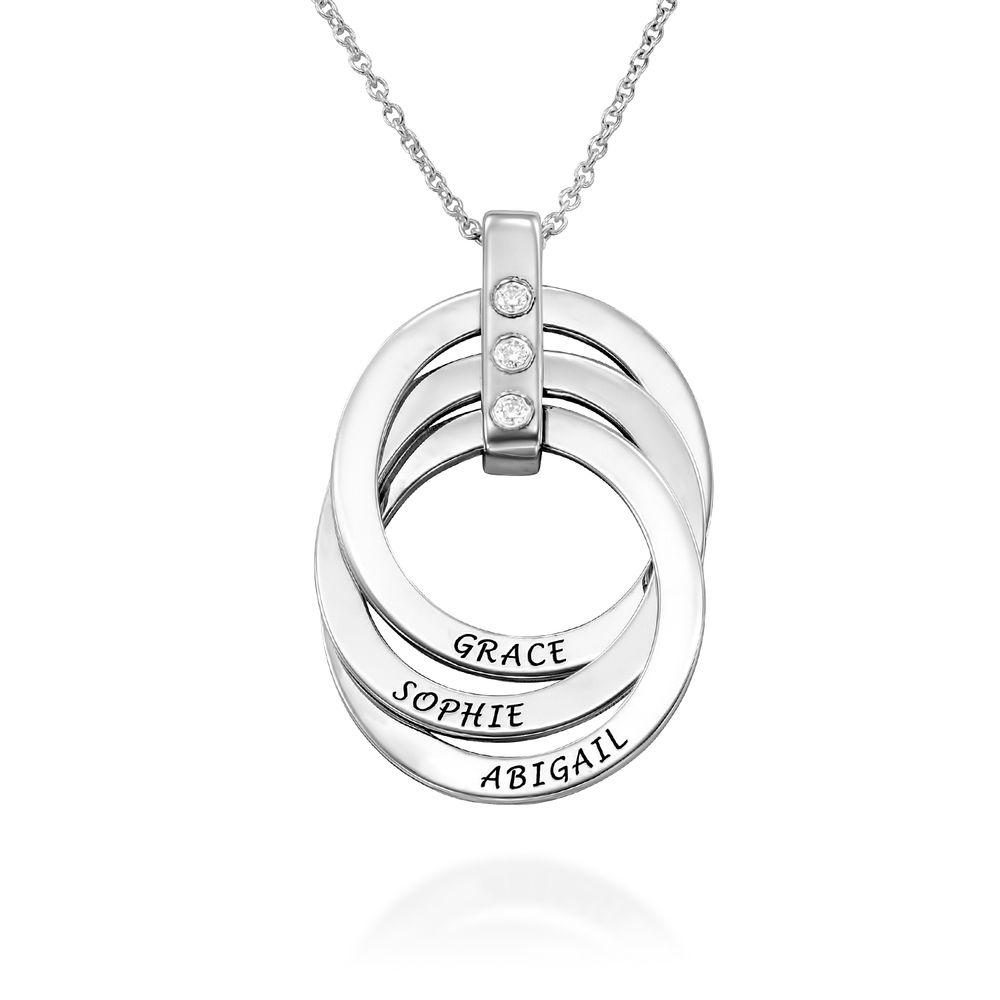Russische Ring Ketting met Diamanten in Sterling Zilver