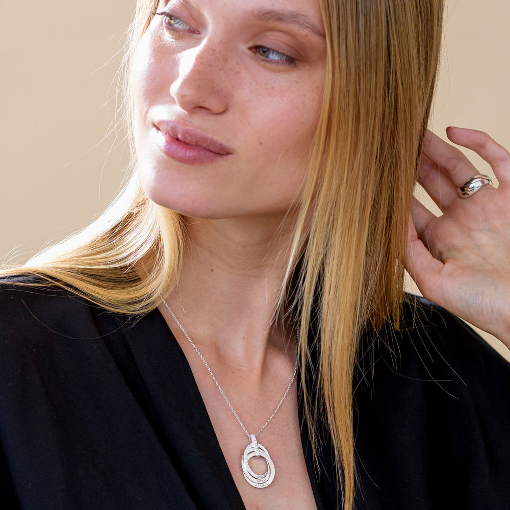 Russische Ring Ketting met Diamanten in Sterling Zilver - 3