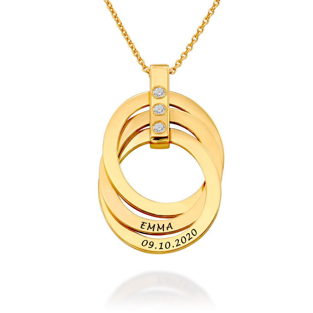 Russische Ring Ketting met Geboortestenen in 18K Goud Vermeil - 1