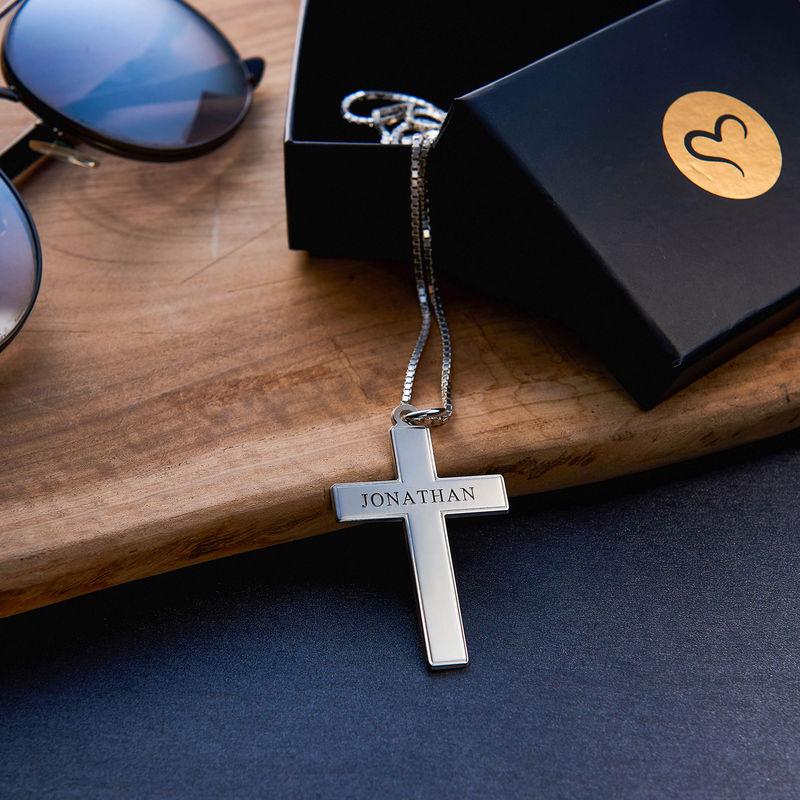 Gegraveerde Kruis Ketting voor Mannen in 925 Zilver - 3