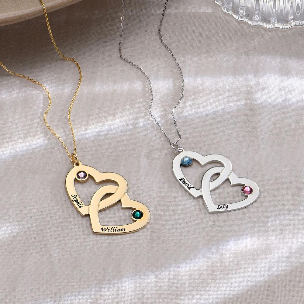 10k gouden hart-in-hart ketting met geboortestenen - 1