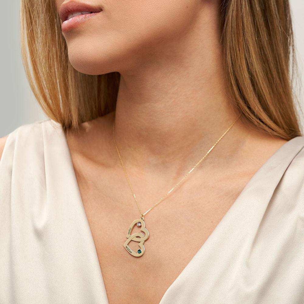 10k gouden hart-in-hart ketting met geboortestenen - 2