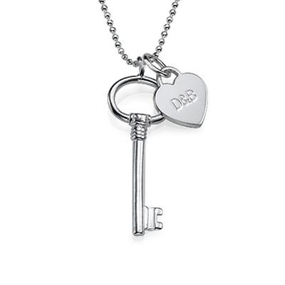 Zilveren (0.925) Sleutel Ketting met Letter en met Graveerbaar Hartje