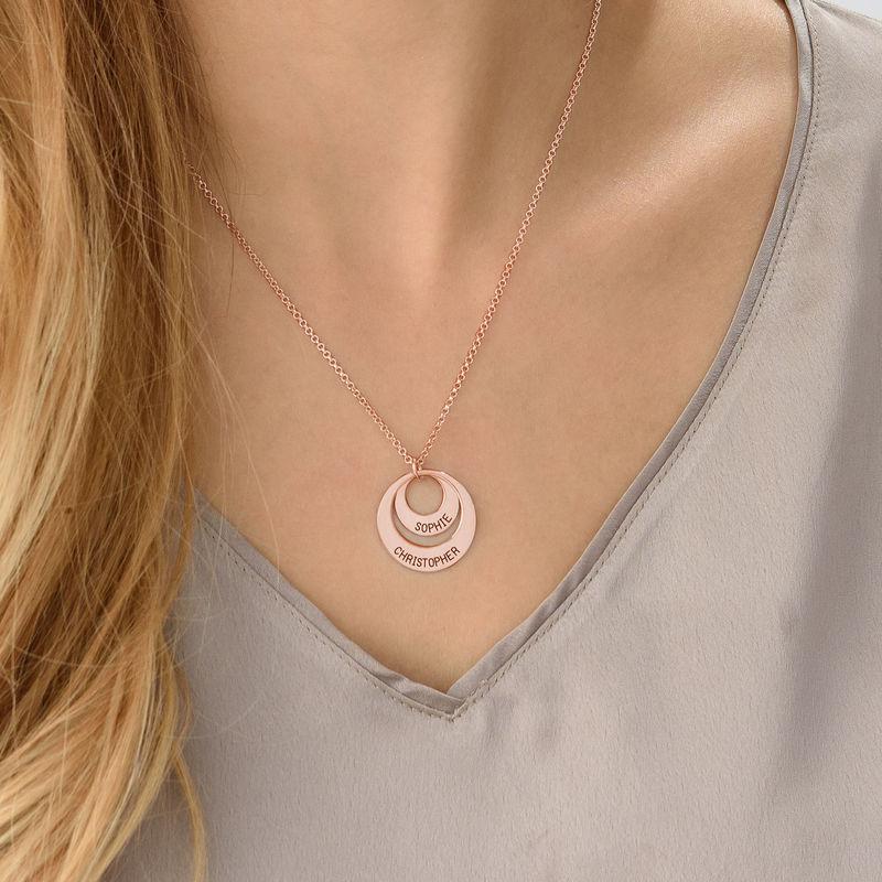 Gepersonaliseerde Mama sieraden - Rosé-vergulde ketting met rondje - 4