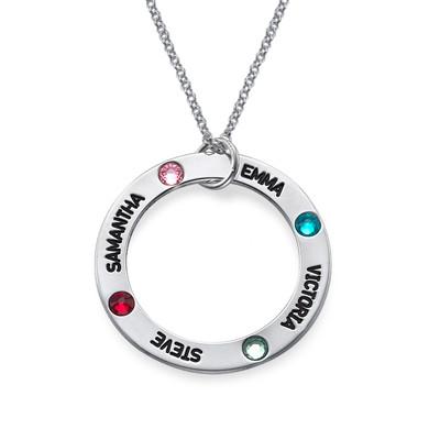 Gegraveerde Cirkel Ketting met Geboortestenen in 925 Zilver