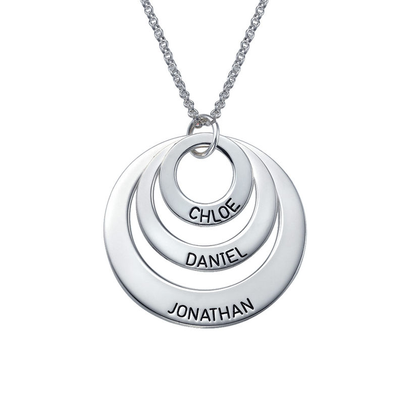 Drie Disc Mama Ketting in 925 Zilver