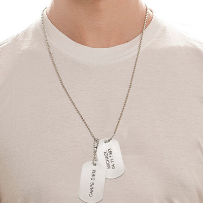 Graveerbare Dog Tag Ketting in Roestvrij Staal - 2