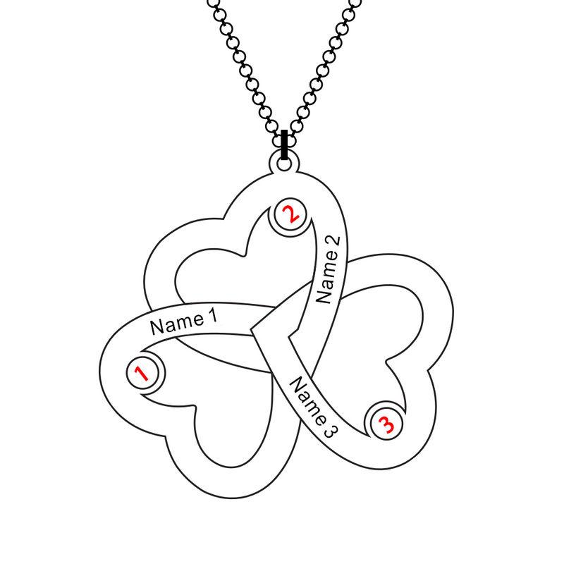 Drievoudige Hart Ketting met Geboortestenen in Rosé-Goudkleur - 5