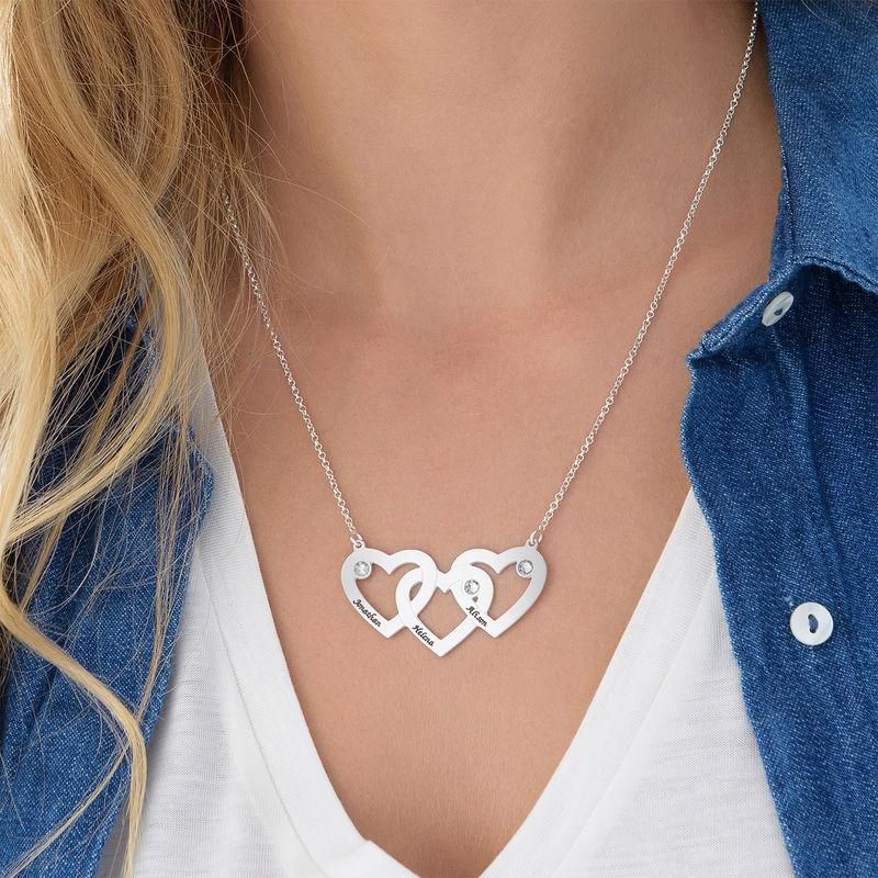 Verweven Drie Harten Ketting voor Mama met Diamanten in 925 Zilver - 1