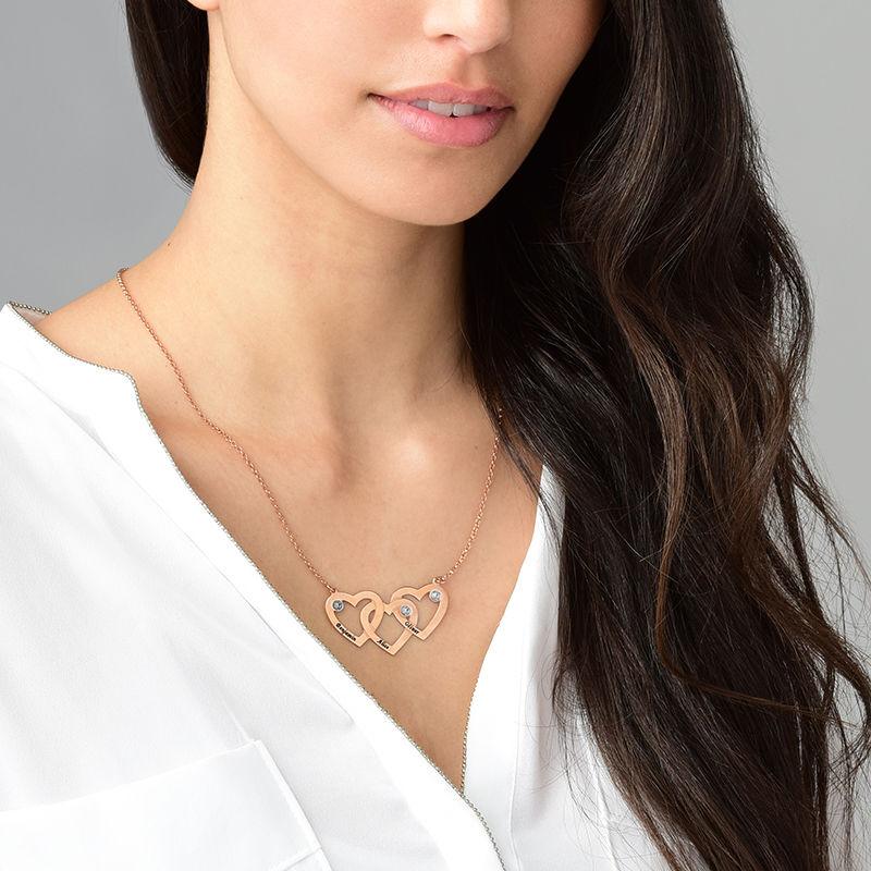 Verweven Drie Harten Ketting voor Mama met Diamanten in 18K Rosé Goud Verguld - 1