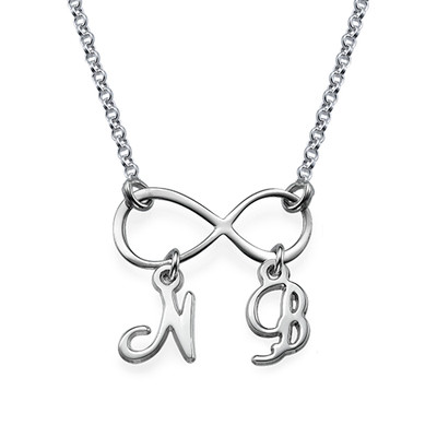 Infinity Ketting met Hangende Initialen in 925 Zilver