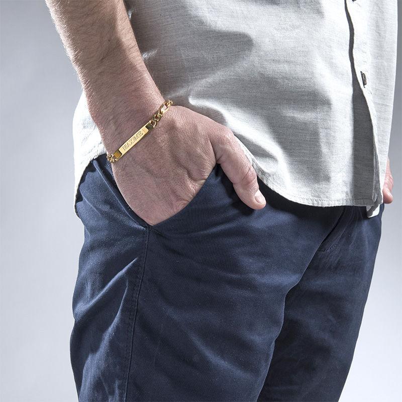Dikke Gegraveerde Heren Armband in Goud Verguld Zilver - 1