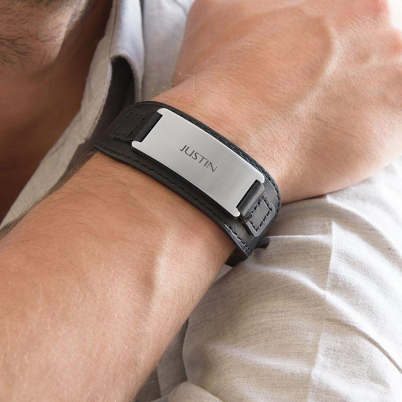 Mannen ID Armband in Zwart Leer - 4