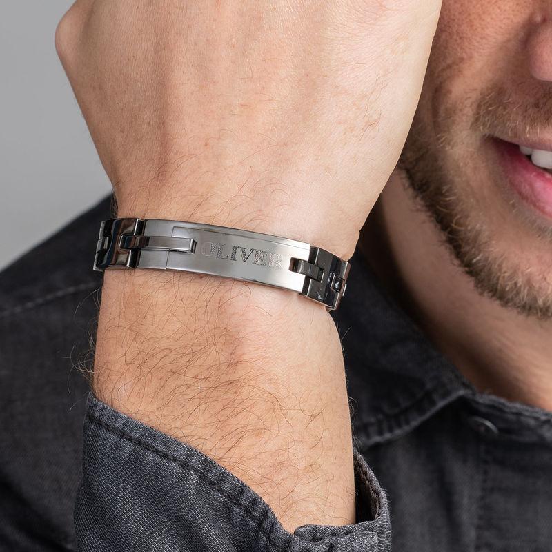 Zwarte Roestvrij Stalen Mannen Armband met Gravering - 2