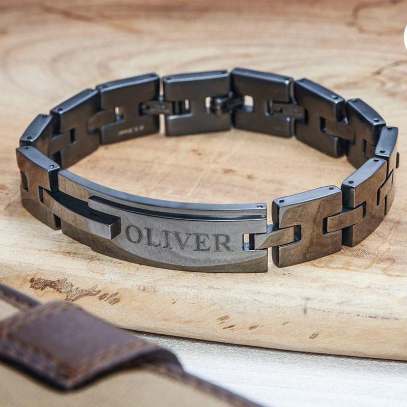 Zwarte Roestvrij Stalen Mannen Armband met Gravering - 3
