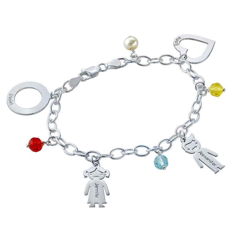Bedels en Geboortestenen Armband in 925 Zilver