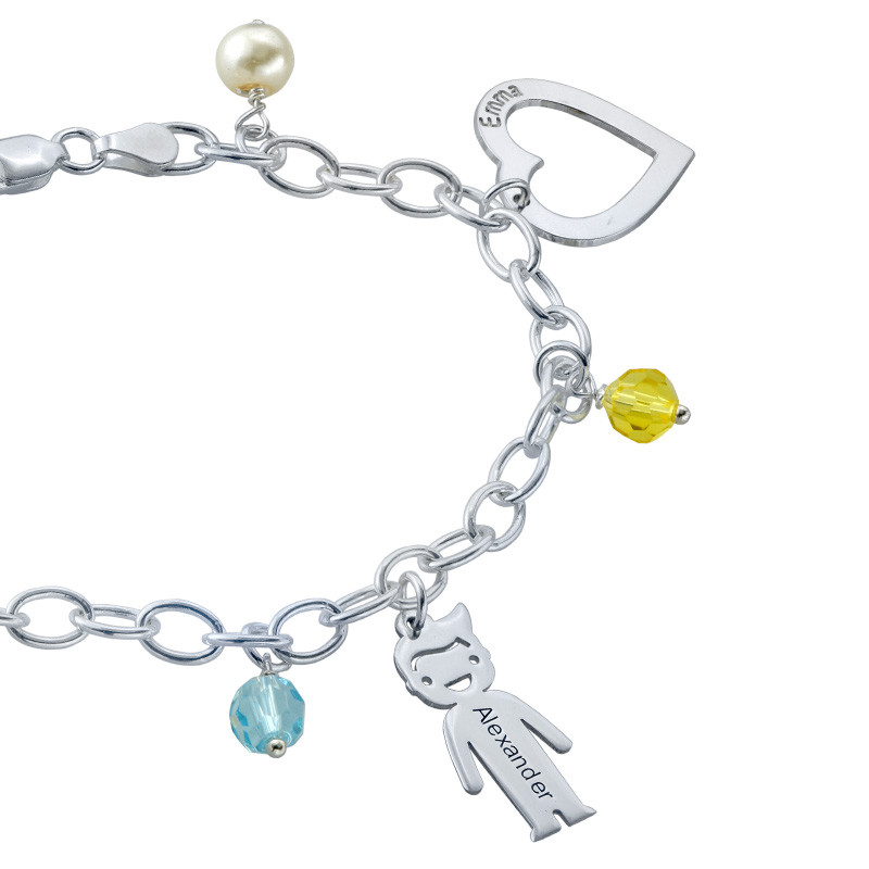 Bedels en Geboortestenen Armband in 925 Zilver - 2