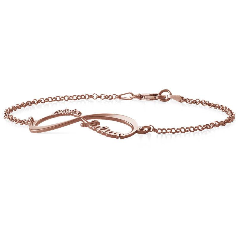 Infinity Armband met Namen in roségoud verguld zilver - 1