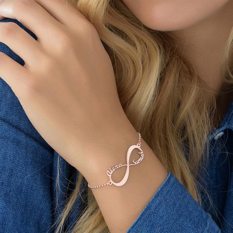 Infinity Armband met Namen in roségoud verguld zilver - 4