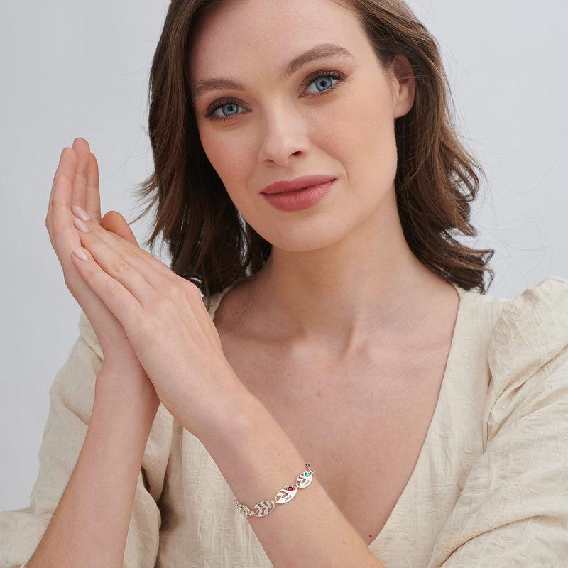 Gegraveerde Moeder armband met blaadjes - 1