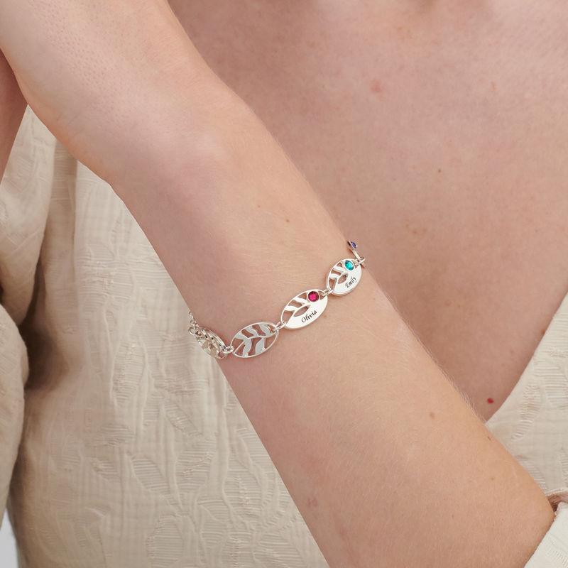 Gegraveerde Moeder armband met blaadjes - 2