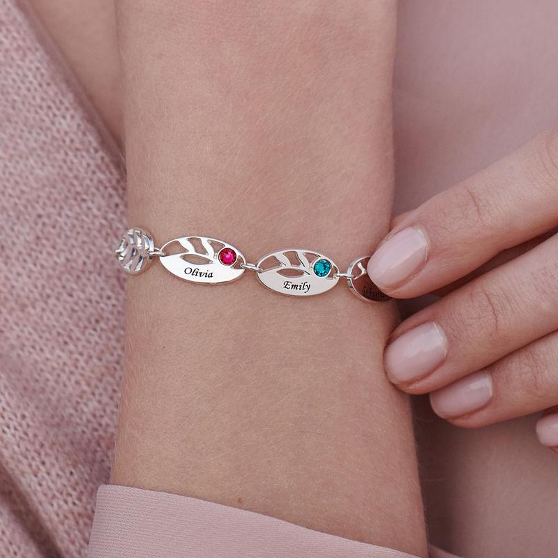 Gegraveerde Moeder armband met blaadjes - 3