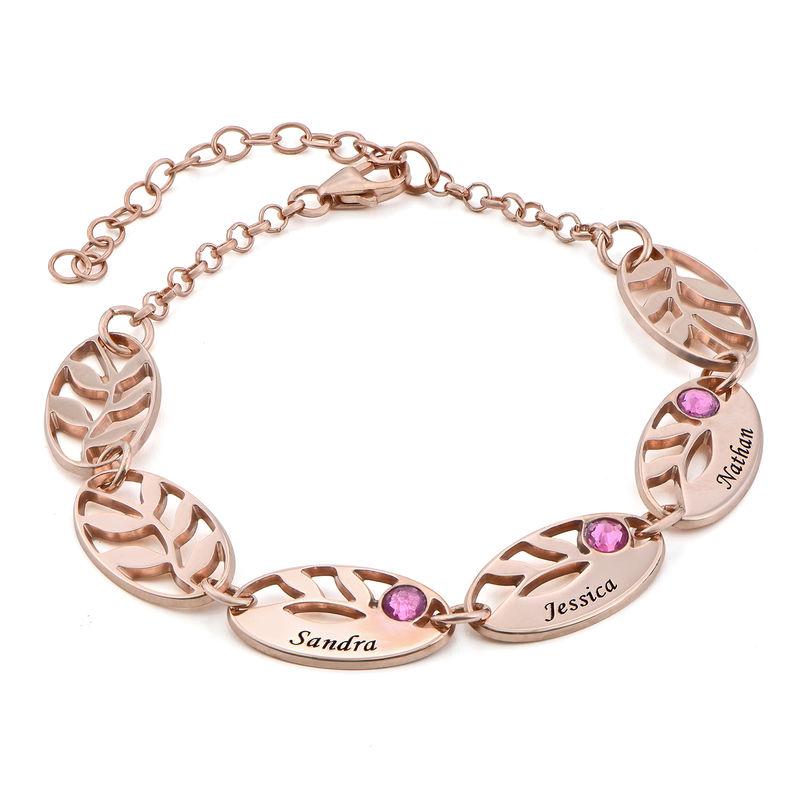 Rosé-vergulde gegraveerde Moeder armband met blaadjes