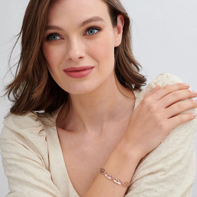 Rosé-vergulde gegraveerde Moeder armband met blaadjes - 1
