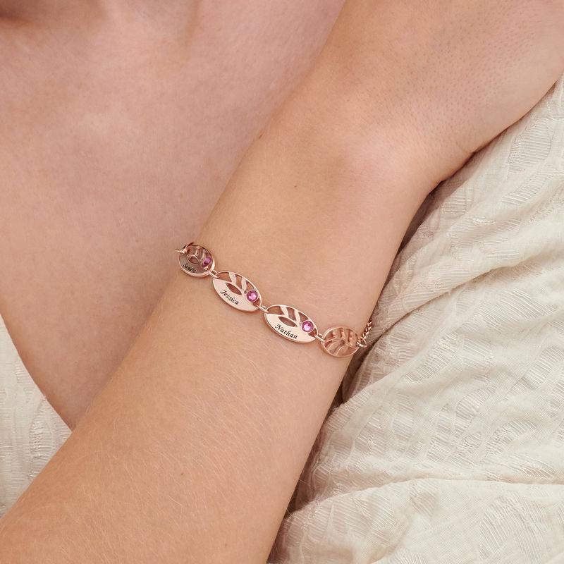 Rosé-vergulde gegraveerde Moeder armband met blaadjes - 2