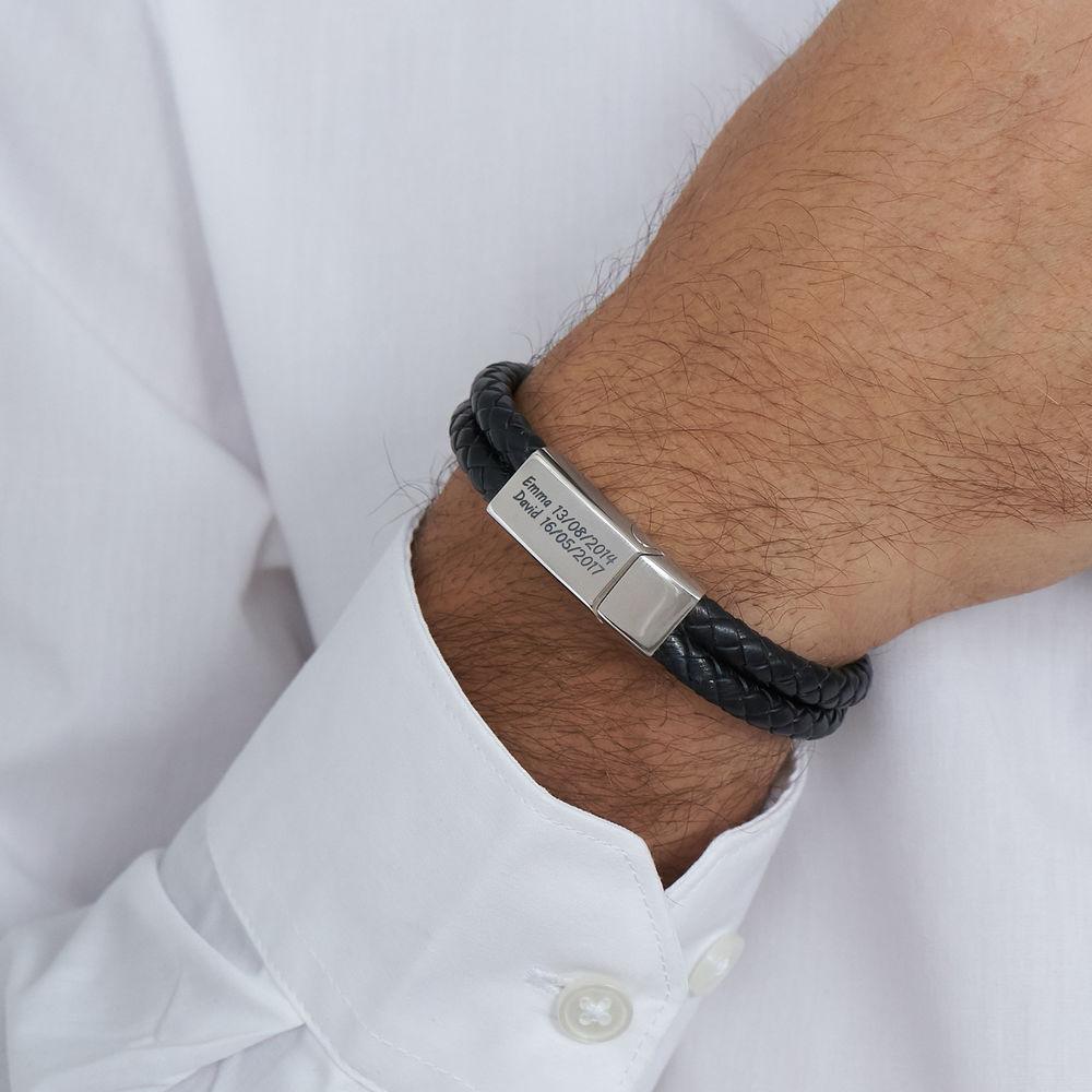 Gegraveerde heren armband in RVS en zwart leer - 2