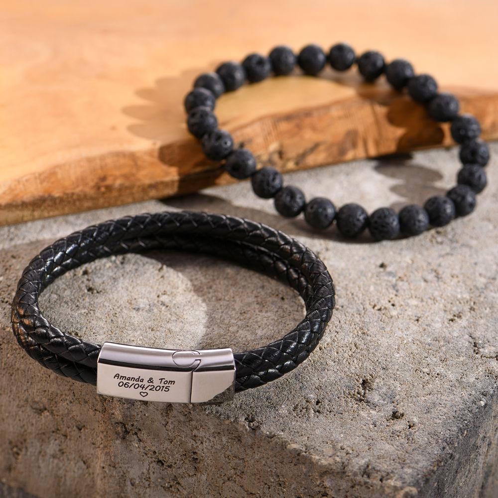 Gegraveerde heren armband in RVS en zwart leer - 3