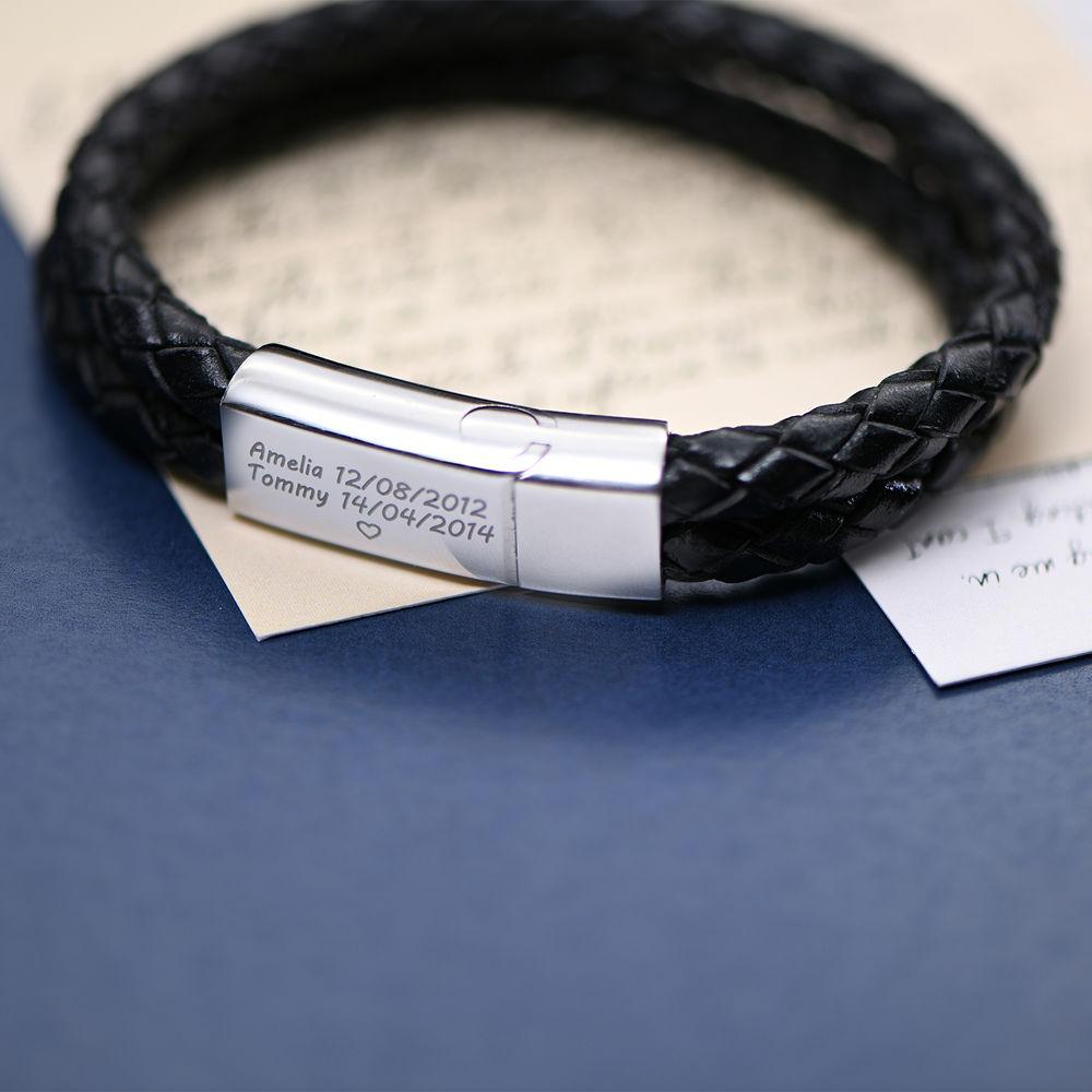Gegraveerde heren armband in RVS en zwart leer - 4