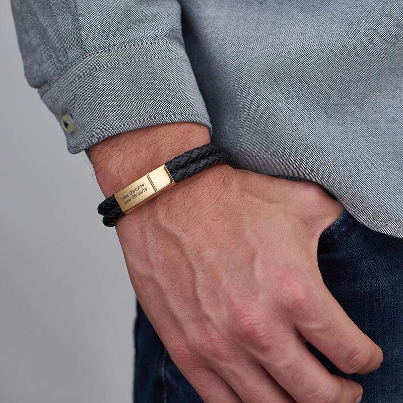 Gegraveerde Heren Armband in Zwart Leer in 18K Goud Verguld - 3