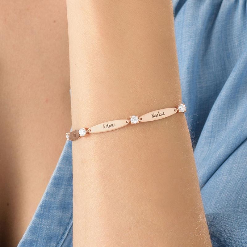 Rosé-vergulde gegraveerde Mama armband met Zirkonia - 3
