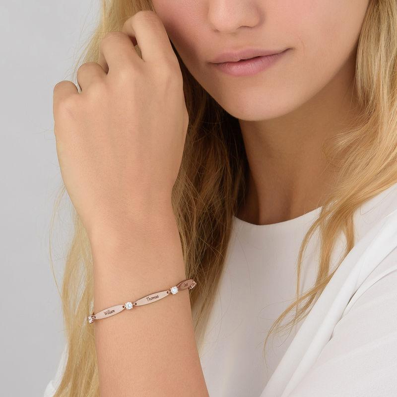 Rosé-vergulde gegraveerde Mama armband met Zirkonia - 4