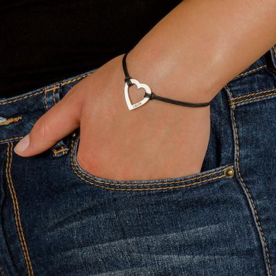 Hart Armband aan Koord in 925 Zilver - 2
