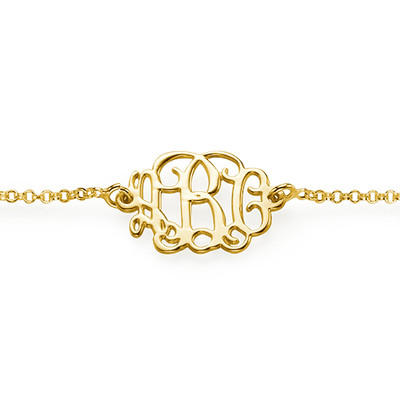 Monogram Armband / Enkelband  in Goud Verguld Zilver - 1